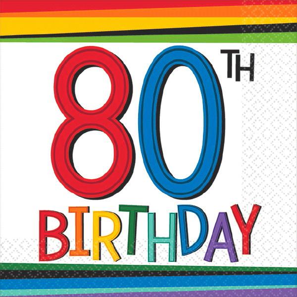 Rainbow Birthday 80th Birthday Beverage Napkins 16ct Dakota Party