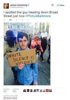 White Silence is Violence Tweet