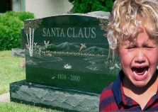 Santa Clause Headstone with Child Crying