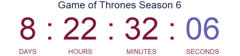 Game of Thrones Season 6 [Countdown Clock]