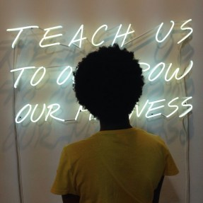 [Woman with Afro standing in front / obscuring sign that reads] Teach Us To Outgrow our Madness Alfredo Jaar