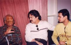 akbar Dale Bhagwagar with Akbar Khan and late veteran composer Naushad during the music recording of the historical film Taj Mahal - An Eternal Love Story.