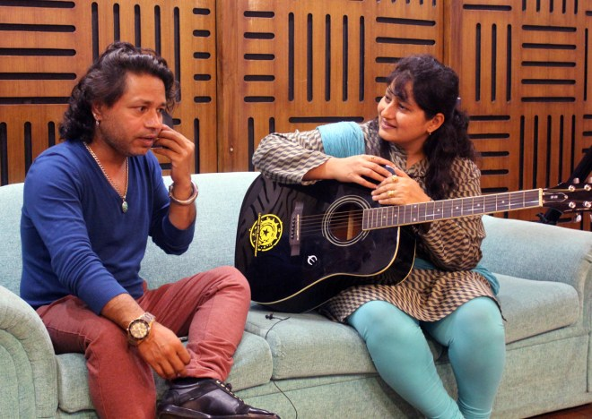 Singer Kailash Kher with filmmaker-composer Fauzia Arshi.