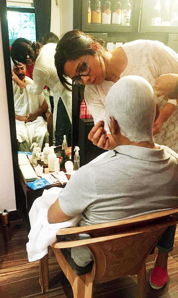 Preetisheel Singh working on Nawazuddin Siddiqui's bald look on the sets of Mom.