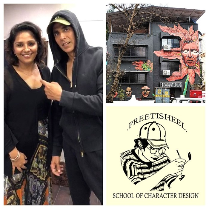 Preetisheel Singh with Akshay Kumar, Mural of Preetisheel's new office in Versova, school logo.