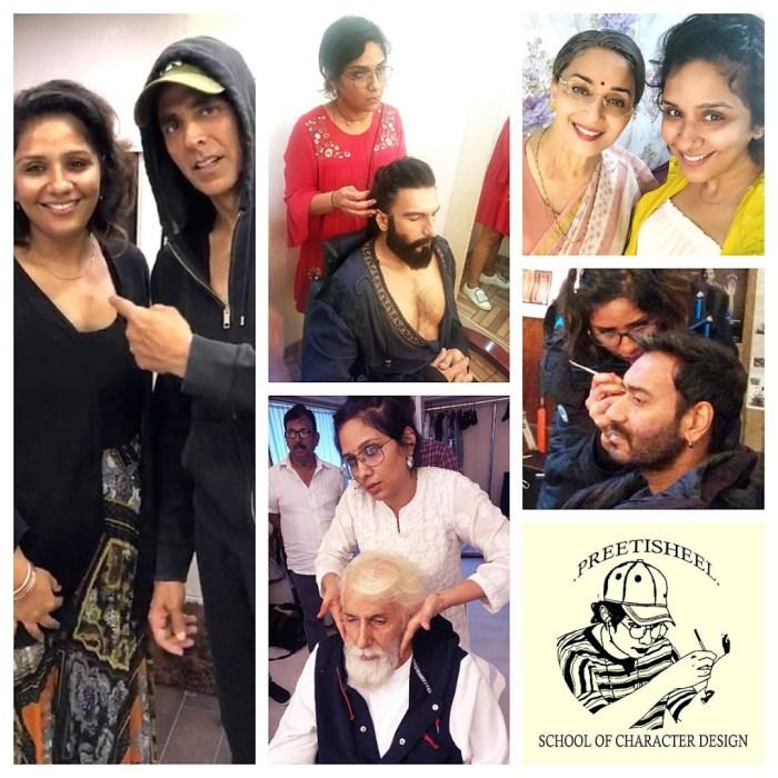 Preetisheel Singh with Akshay Kumar, Ranveer Singh, Amitabh Bachchan, Madhuri Dixit, Ajay Devgn and school logo.