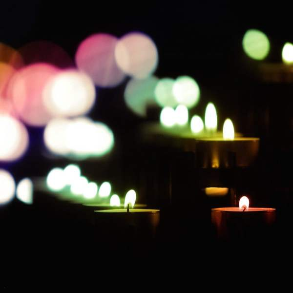 candles with rainbow light