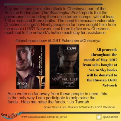 Graphic that asks people to buy Jo Tannah's two books to support LGBT Chechens