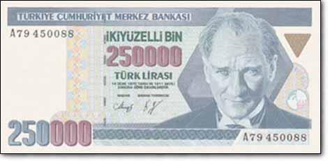 الليرة التركية من فئة 250 ألف