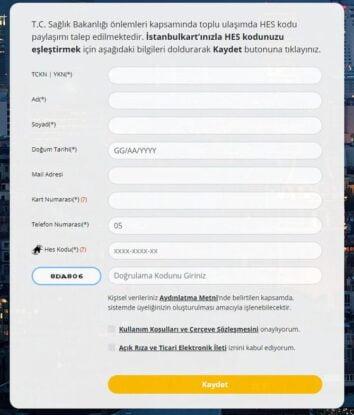 تعبئة معلومات كرت باص اسطنبول وربطه بكود الهاس