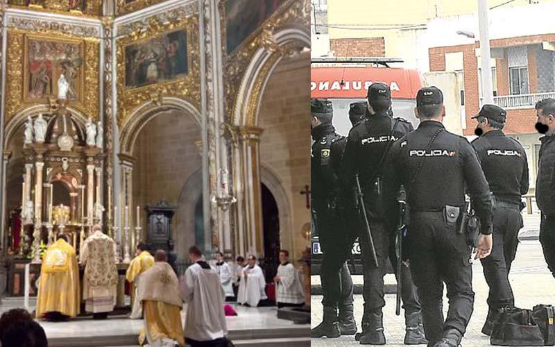 Desalojan la Catedral de Granada por una misa en Viernes Santo.
