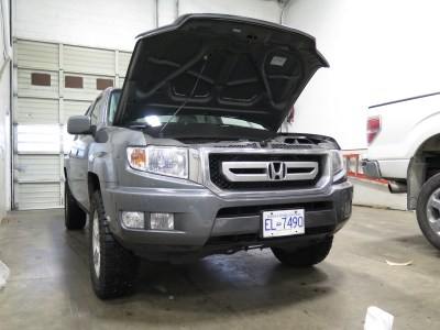 Honda Ridgeline with a new Aries Black Powder-coated Front Bumper Guard