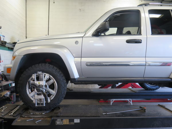 Jeep Liberty in for a SkyJacker lift and tires at Dales Auto Service