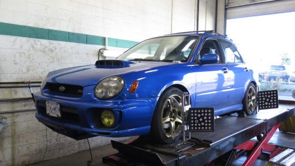 Subaru WRX Wagon in for ST coilovers and Whiteline Suspension at Dales Auto Service
