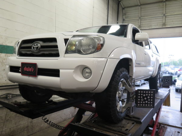 Toyota Tacoma in for Bilstein 5100 Front Lift Struts and Rear Shocks at Dales Auto Service