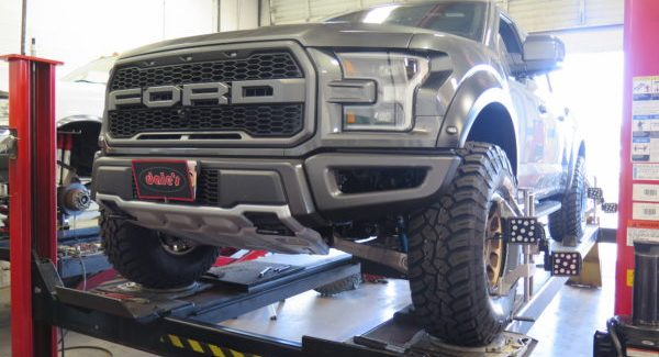 2017 Ford Raptor in for C.A.S Spring Collar Lift and Alignment