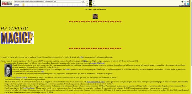 Pantallazo de uno de mis pantallazos del Internet pleistocénico, allá por 1996