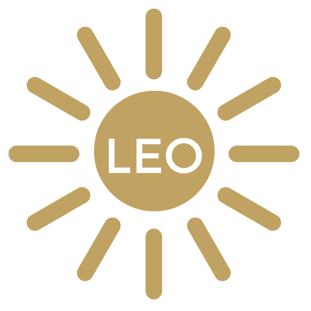 """A gold Sun with golden sun rays beaming out and in the middle of the sun it says """"Leo"""""""