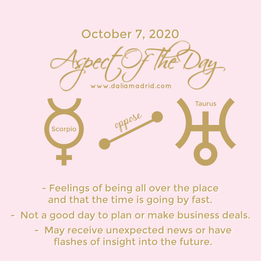 Aspect of the day: Wednesday, October August 7, 2020: Mercury in Scorpio oppose Uranus in Taurus