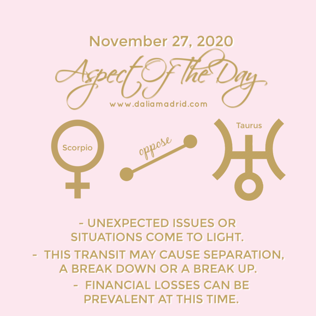 Venus in Scorpio opposes Uranus in Taurus
