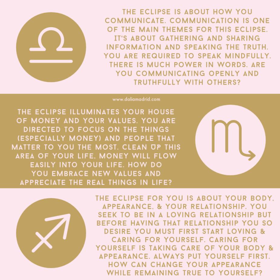 Horoscopes for Libra, Scorpio, and Sagittarius