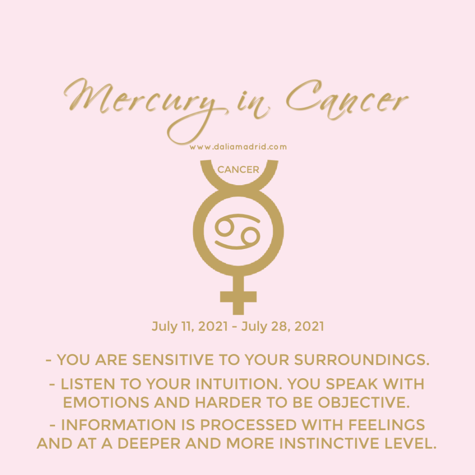 Mercury in Cancer from July 11, 2021 - July 28, 2021