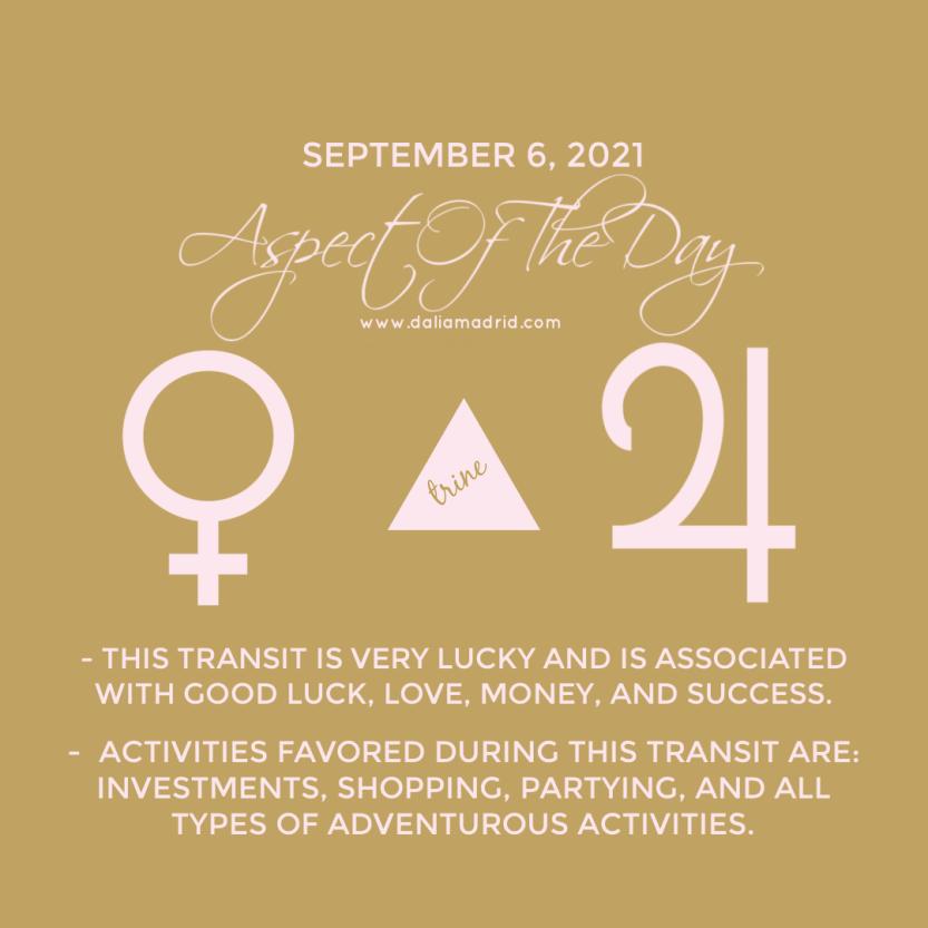 Venus in Libra Trine Jupiter in Aquarius on September 6, 2021