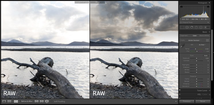 Shooting in RAW gives you the opportunity to rescue also overexposed parts of a photo. Check out all the detail in the sky that I saved by reducing its exposure in Lightroom.
