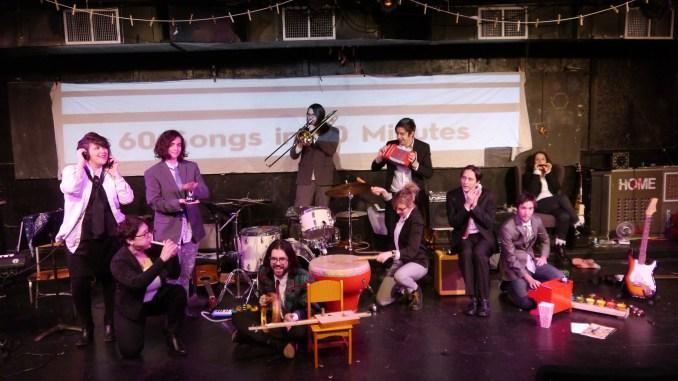 An ensemble plays a mix of instruments.