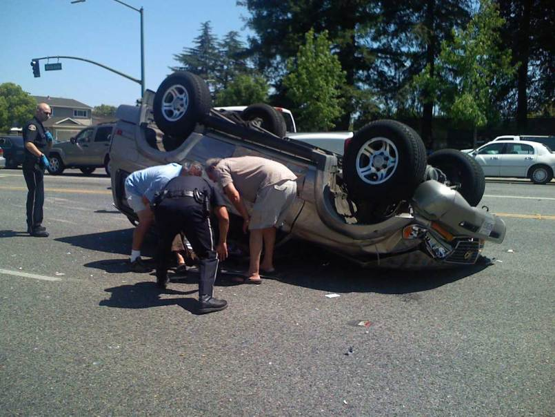 Overturned car in accident. Dallas orbital fracture lawyer