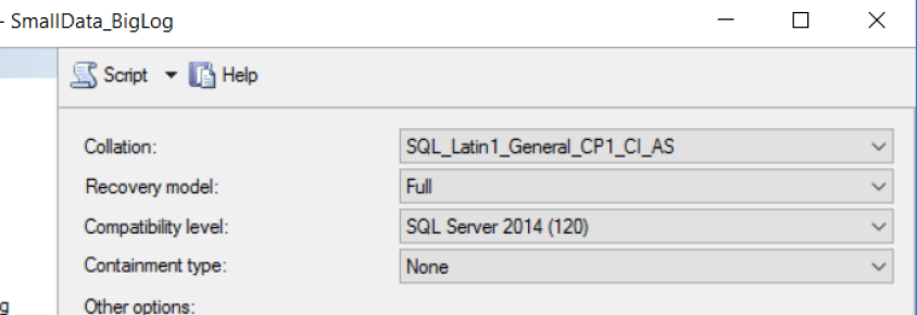 SQL Server Database Options