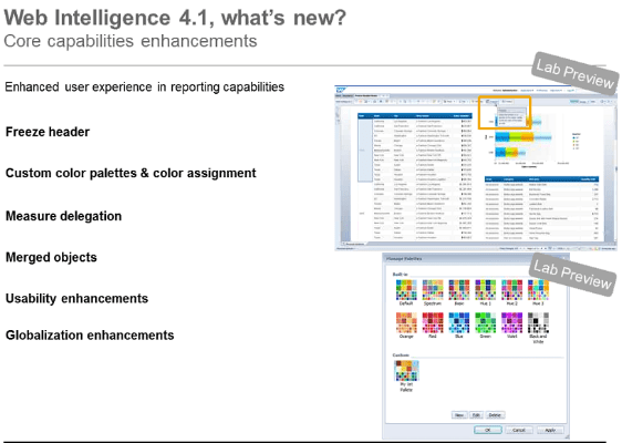 Web Intelligence 4.1 New Features Summary