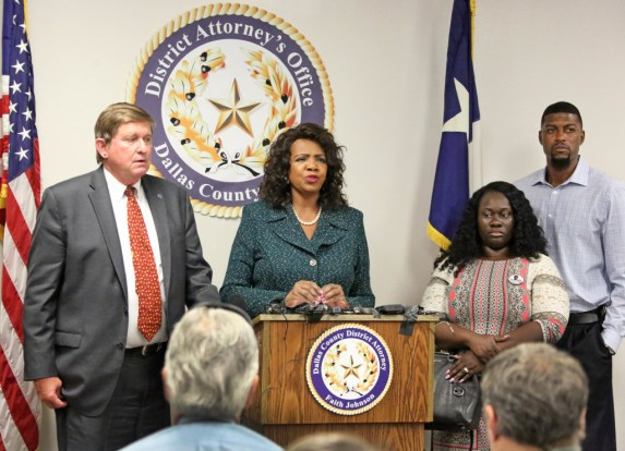 "<p><span style=""font-size: 1em; background-color: transparent;""></span></p><p><span style=""font-size: 1em; background-color: transparent;"">Jordan Edwards' stepmother Charmaine Edwards and father Odell Edwards, at right, listen as Dallas County District Attorney Faith Johnson announces that a grand jury indicted fired Balch Springs officer Roy Oliver at on a murder charge for Jordan's death and four additional charges of aggravated assault with a deadly weapon by a public servant. The news conference was held Monday, July 17 at the Frank Crowley Courts Building in Dallas. Jordan Edwards was killed in the April 29 in Balch Springs. Also pictured is First Assistant District Attorney First Assistant Mike Snipes. </span></p><p></p>(Louis DeLuca/Staff Photographer)"