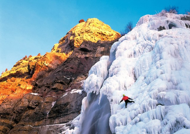 The 607-foot-tall Bridal Veil Falls unleashes curtains of water in the summer and freezes over in the winter, becoming an ice climber's dream.(Sandra Salvas/Utah Office of Tourism)