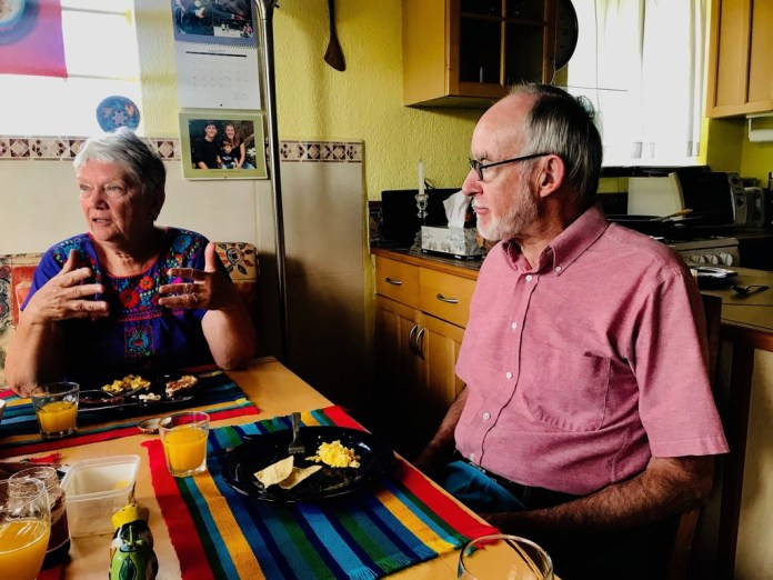 Barbara Hildt and husband Allan MacGregor, a retiree from Massachusetts, share their thoughts at their home in Ajijic, Mexico, on the August 2, 2019,  El Paso massacre and how it is adding to tensions between Mexicans and Americans. Photo taken Sunday, August 11, 2019.(Alfredo Corchado/Staff Photo)