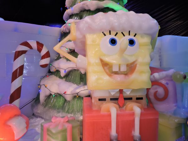 Spongebob will wish you a Happy Holiday at Galveston's Moody Gardens and their ICE LAND: Ice Sculptures with SpongeBob SquarePants. Photo credit: Rudy Alvarado