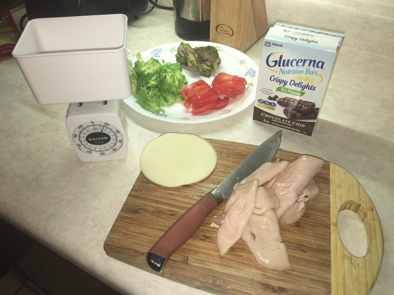 Scale to measure meat, use low fat cheese and great ingredients for the wrap