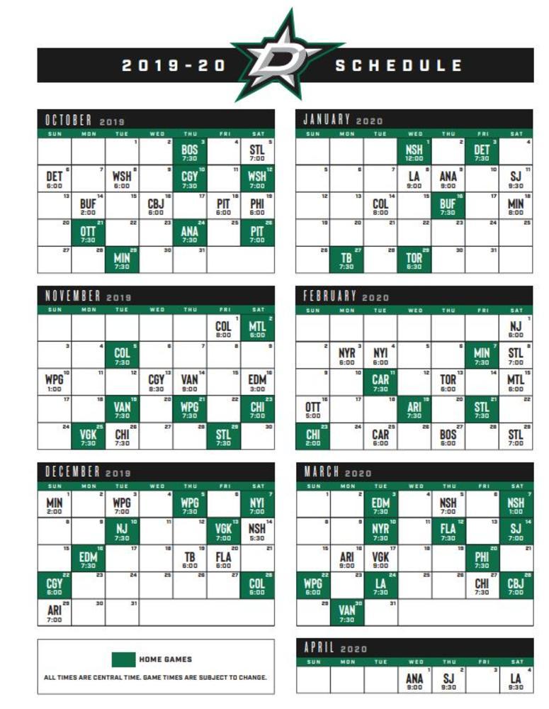 Dallas Stars schedule 2019-20