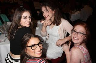 Kaiden Maines with other NHSMTA nominee ladies at Sardi's before heading to ON YOUR FEET! Photo by Henry McGee