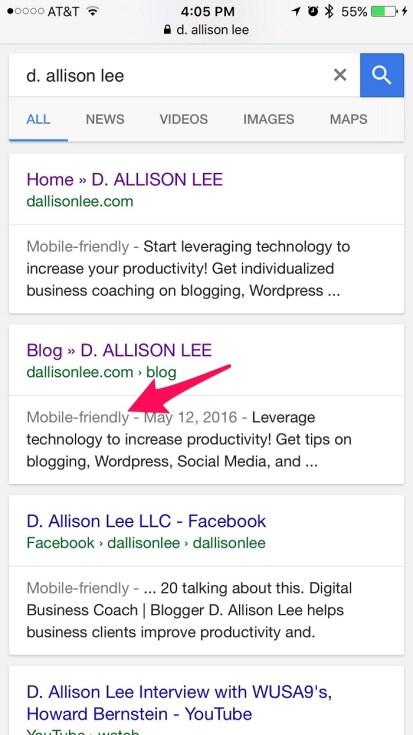 Google tells Internet searchers when a website is mobile-friendly