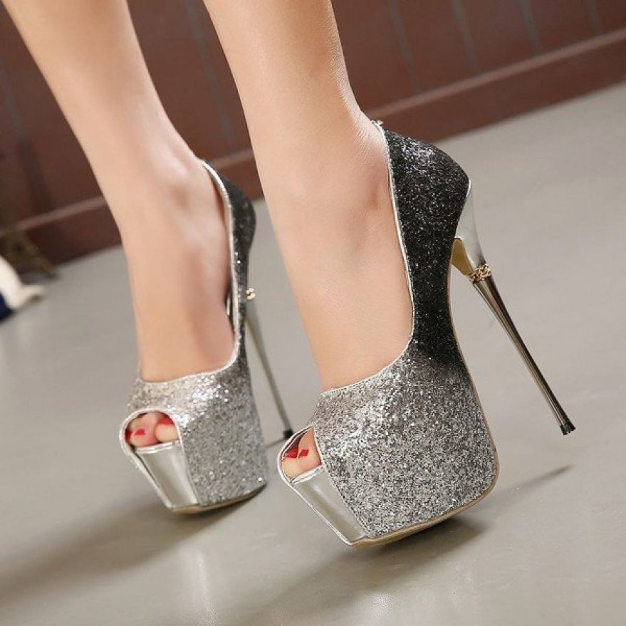 Silver Glitter Sparkly Heels Peep Toe Stripper Heels Platform Pump