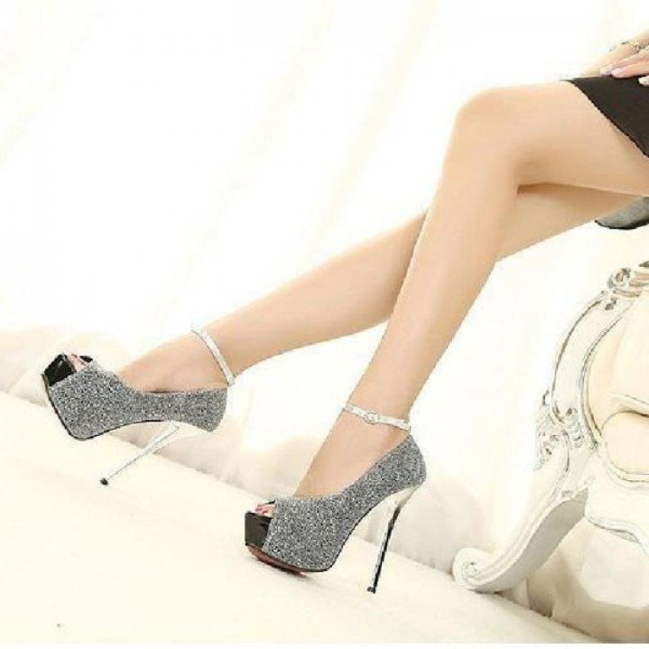 Women's Grey Ankle Strap Heels Peep Toe Heels Pumps High Heel Shoes