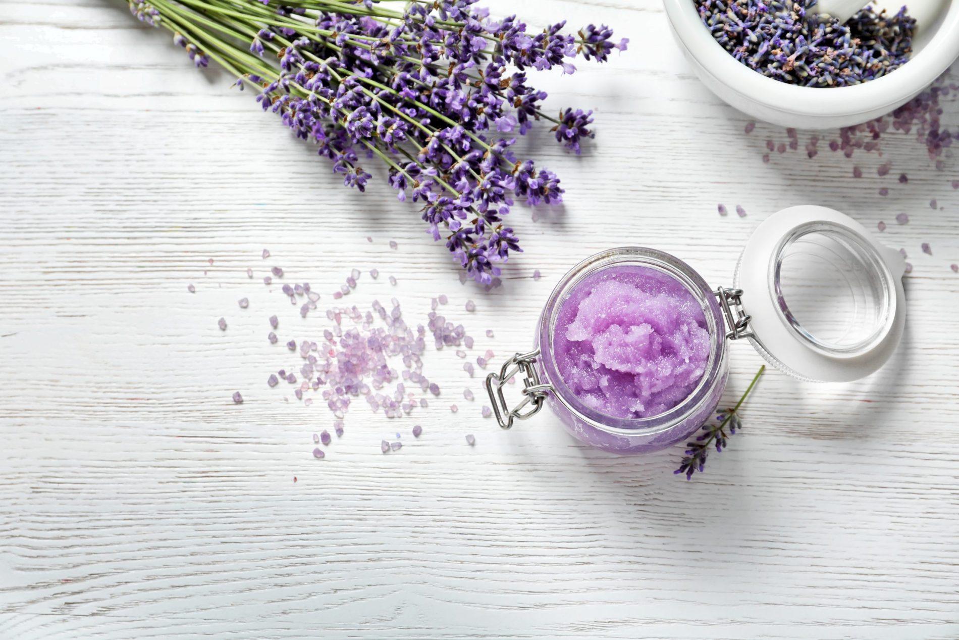 DIY Natural Sugar Body Scrub with Lavender Flowers