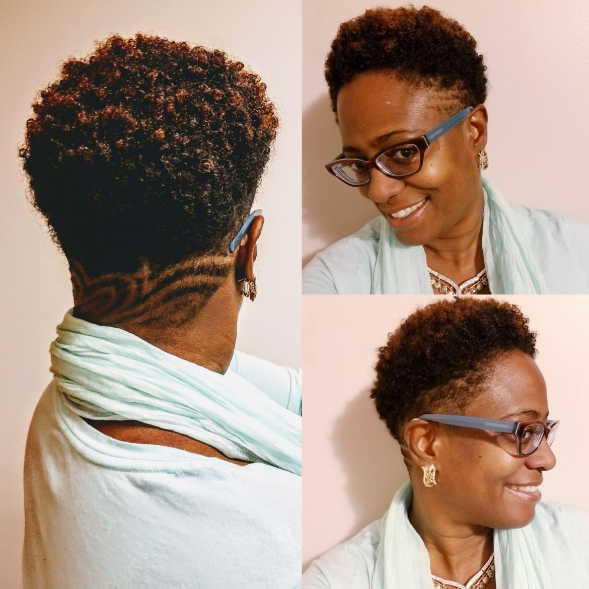 Moisturized undercut on natural hair