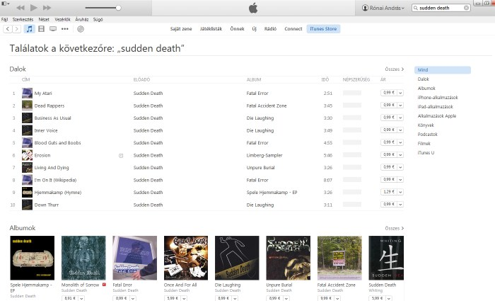iTunes sudden death