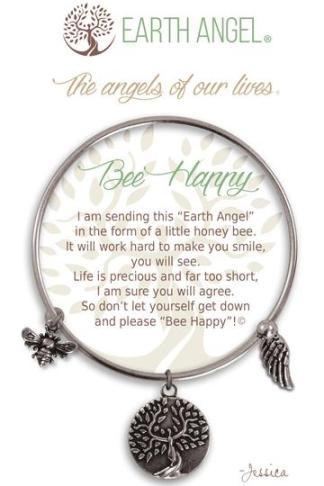 "Earth Angel Charm Bracelet ""Bee Happy"" Antique Silver"