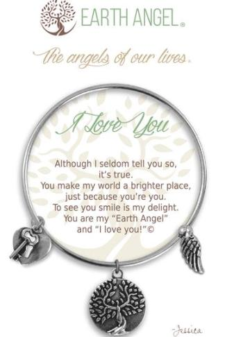 "Earth Angel Charm Bracelet ""I Love You"" Antique Silver"