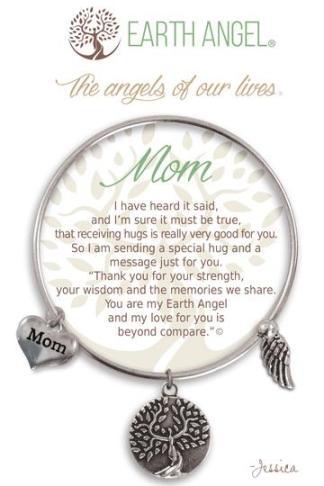 "Earth Angel Charm Bracelet ""Mom"" Silver"