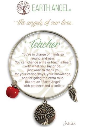 "Earth Angel Charm Bracelet ""Teacher"" Antique Silver"