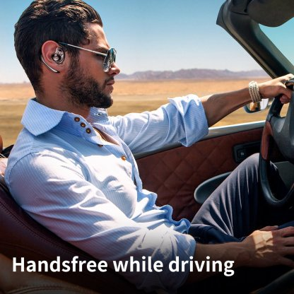 Shows driver with AMINY Bluetooth Headset in ear while driving